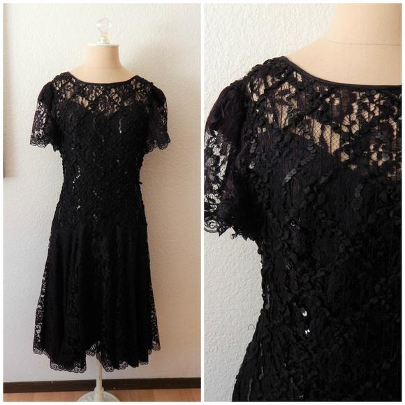 87a92a86 Vintage 80s Lace Drop Waist Prom Dress. M_5b2add498ad2f91394cb7cce